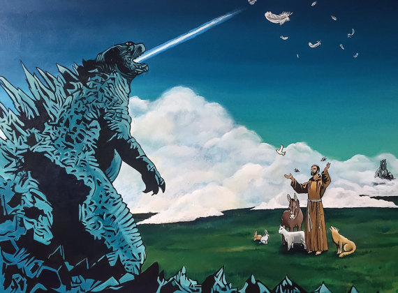 St Francis of Assisi versus Godzilla | SOLD